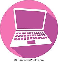 lakás, laptop, ikon
