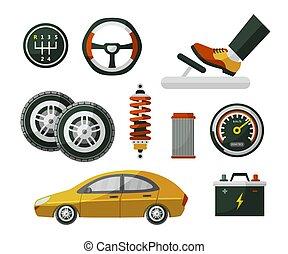 lakás, mód, állhatatos, autó, autó, alkatrészek, autó