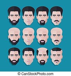 lakás, mód, állhatatos, ikonok, férfiak, polygonal, vektor, arc, haj, hím, style.