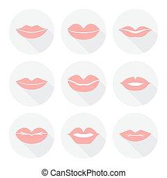 lakás, mód, állhatatos, nő, ábra, ajkak, vektor, száj, szexi, mosoly, piros