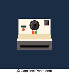 lakás, mód, fényképezőgép, ábra, vektor, tervezés, retro, szüret, ikon