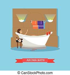 lakás, mód, fogalom, folyamat, ábra, fürdőkád, vektor, ásványvízforrás, illat