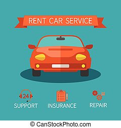 lakás, mód, fogalom, szolgáltatás, autó, vektor, lakbér