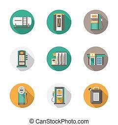 lakás, mód, ikonok, gáz, vektor, állomás, kerek