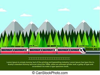 lakás, mód, kiképez, conifers, ábra, vektor, erdő, vasút, hegy.