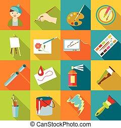lakás, mód, művész, állhatatos, ikonok, eszközök, szobafestő
