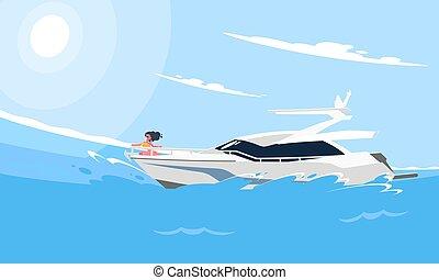 lakás, mód, motor, parkosít., kép, modern, jacht, ábra, gyakorlatias, csónakázik, háttér, water., fehér, tenger