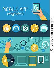 lakás, mód, mozgatható, app, vektor, infographics