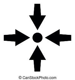 lakás, mód, mutat, befest szobor, előadás, nyílvesszö, ábra, négy, egyszerű, fekete, pont, ikon