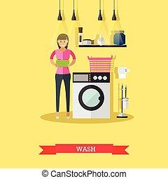 lakás, mód, nő, mosás, machine., ábra, lemos, vektor, öltözék