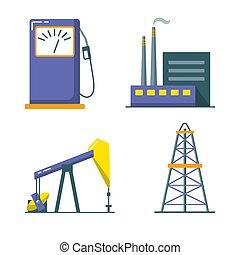 lakás, mód, olaj iparág, állhatatos, ikon