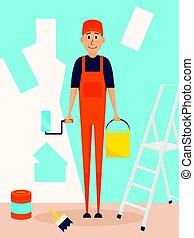 lakás, mód, paintroller, betű, fog, munkás, wall., festék, vektor, kézműves, bucket., design., karikatúra, szobafestő, ember