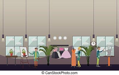 lakás, mód, stiliszta, ábra, vektor, szobafestő, öltözet, ...