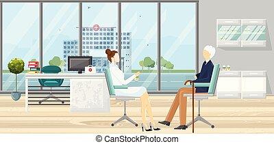 lakás, mód, türelmes, vector., orvos, hivatal., orvosi, orvosság, konzultáció, sablon, healthcare, ábra, concept.