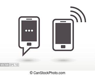 lakás, mozgatható, aláír, telefon, vektor, jel, icon., smartphone.