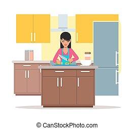 lakás, nő, főzés, ábra, szelet uborka, vektor, tervezés, saláta