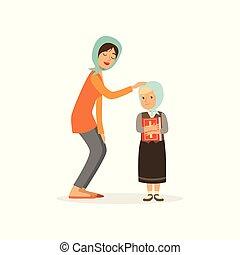lakás, nő, keresztény, headscarves., neki, family., anya, betű, book., vektor, tervezés, jámbor, birtok, öltözött, lány, leány, vallásos, karikatúra, child.