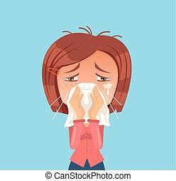 lakás, nő, sneeze., allergia, betű, ábra, vektor, karikatúra