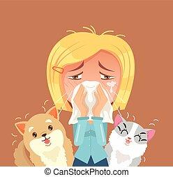 lakás, nő, sneeze., belföldi, betű, ábra, animals., vektor, karikatúra, allergiás