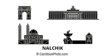 lakás, nalchik, ábra, utazás, landmarks., jelkép, láthatár,...