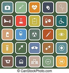 lakás, orvosi, zöld háttér, ikonok