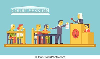 lakás, pártol, bíróság, betűk, ludge, igazságosság, modern, színhely, ábra, vektor, tervezés, ügyvéd, divatba jövő, törvény, vádlott, sablon