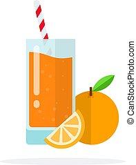 lakás, pohár, elszigetelt, narancslé, szalmaszál