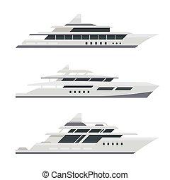 lakás, set., jacht, vektor, tervezés, motor, style.