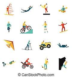 lakás, sport, állhatatos, extrém, ikonok