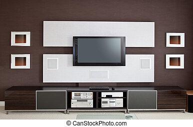 lakás, színház, szoba, televízió ellenző, modern, belső, otthon