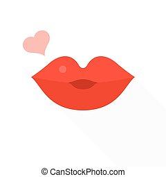lakás, szív, hosszú, ajkak, tervezés, ikon, csókolózás, árnyék