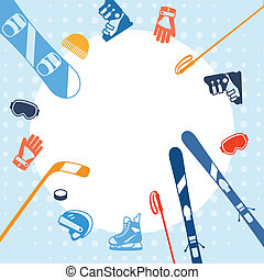 lakás, tél, icons., sportfelszerelés, háttér