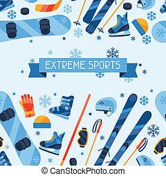 lakás, tél, motívum, seamless, icons., sportfelszerelés