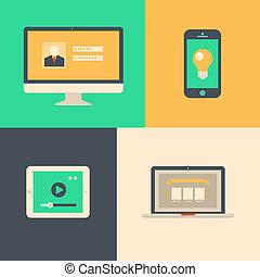 lakás, tabletta, laptop, telefon, számítógép, tervezés