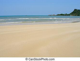 lakás, tengerpart, homokos