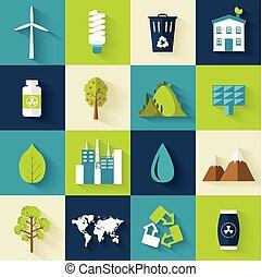 lakás, termék, állhatatos, -e, ikonok, eco, concept., ábra, elem, mozgatható, vektor, ökológia, háló, sablon, infographics, applications., tervezés, vagy