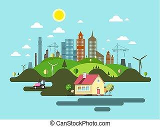 lakás, tervezés, city., elvont, vektor, town.