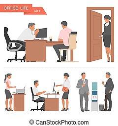 lakás, tervezés, közül, ügy emberek, és, hivatal, workers., vektor, ábra, elszigetelt, white, háttér.