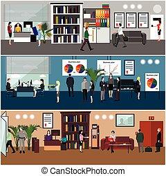 lakás, tervezés, közül, ügy emberek, vagy, hivatal, workers., bemutatás, és, meeting., hivatal, interior.