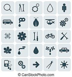 lakás, tervezés, kerek, derékszögben, vektor, ikonok, állhatatos