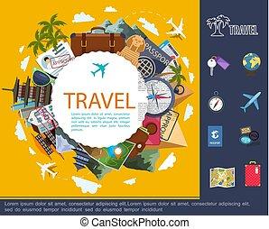 lakás, utazás, fogalom, mindenfelé, világ