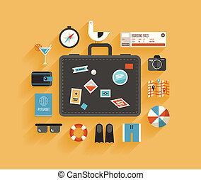 lakás, utazás, fogalom, tervezés, szünidő