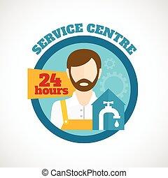 lakás, vízvezeték szerelő, fogalom, szolgáltatás