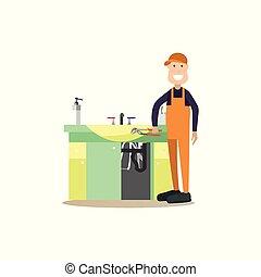 lakás, vízvezeték szerelő, mód, ábra, vektor, profi