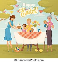 lakás, vacsora, húsvét, család, poszter