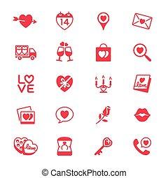 lakás, valentin nap, ikonok