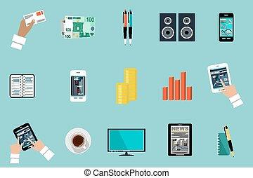 lakás, vektor, állhatatos, közül, hivatal, ruhanemű, felszerelés, objects.