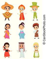 lakás, vektor, állhatatos, közül, kevés, gyerekek, alatt, különböző, nemzeti, costumes., fiú lány, fárasztó, hagyományos, öltözék
