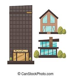 lakás, vektor, állhatatos, közül, modern, városi, architecture.