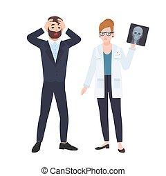 lakás, vektor, bemutat, színes, orvos, radiológus, ingerlékeny, orvosi, vagy, ábra, patient., konzultáció, koponya, női, diagnosztika, karikatúra, hím, megijedt, style., röntgen, clinic.
